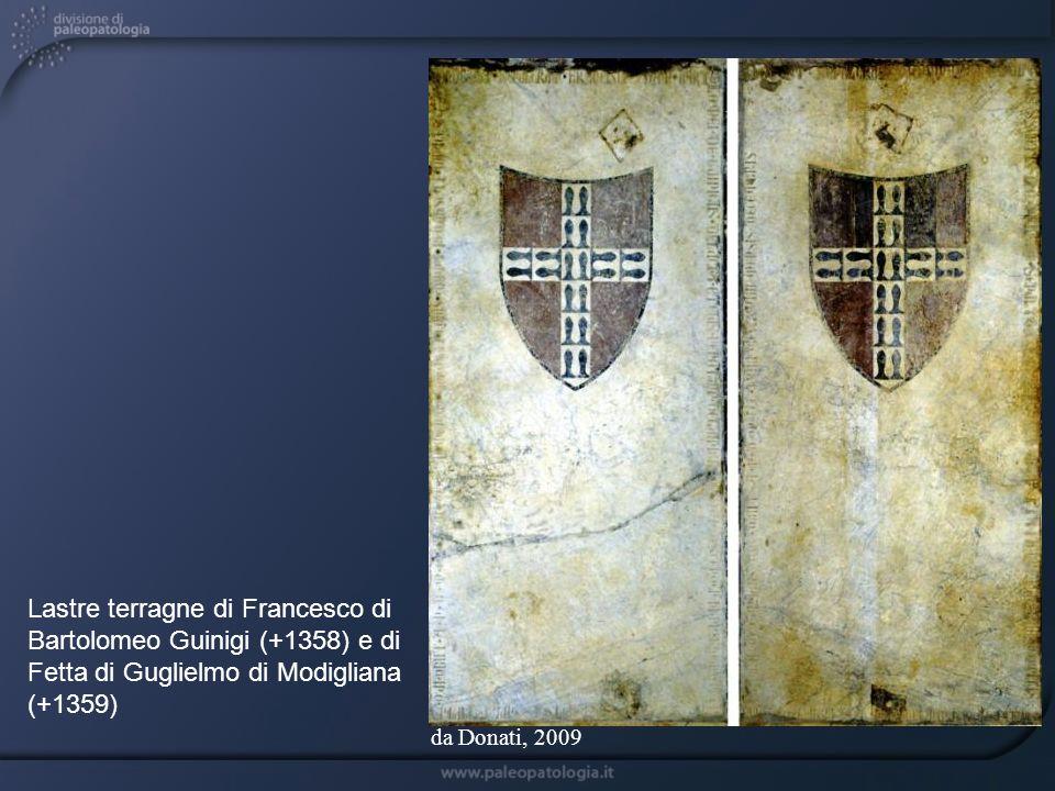 Lastre terragne di Francesco di Bartolomeo Guinigi (+1358) e di Fetta di Guglielmo di Modigliana (+1359)