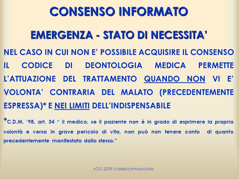 EMERGENZA - STATO DI NECESSITA'