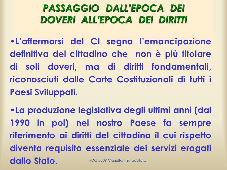 PASSAGGIO DALL'EPOCA DEI DOVERI ALL'EPOCA DEI DIRITTI