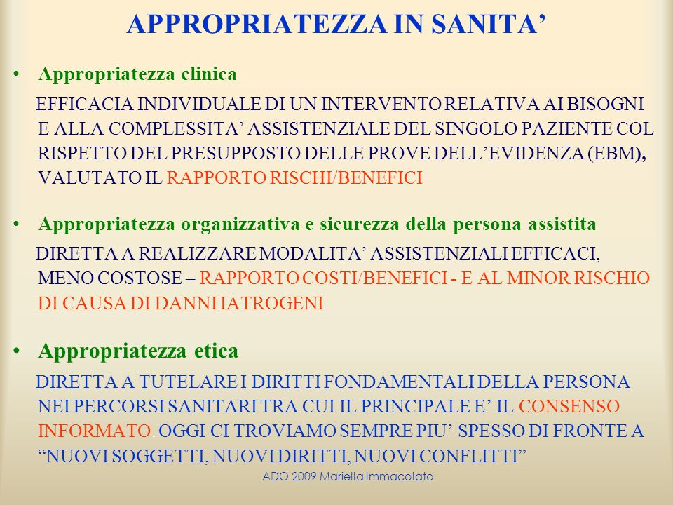 APPROPRIATEZZA IN SANITA'