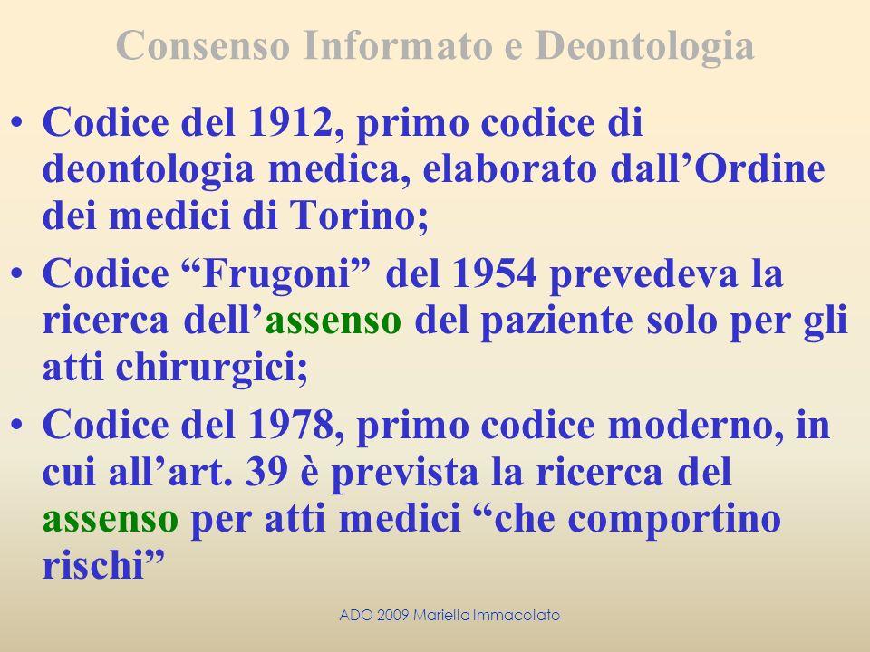 Consenso Informato e Deontologia