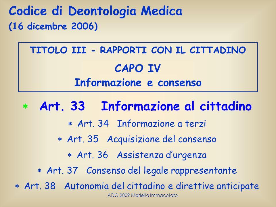  Art. 33 Informazione al cittadino