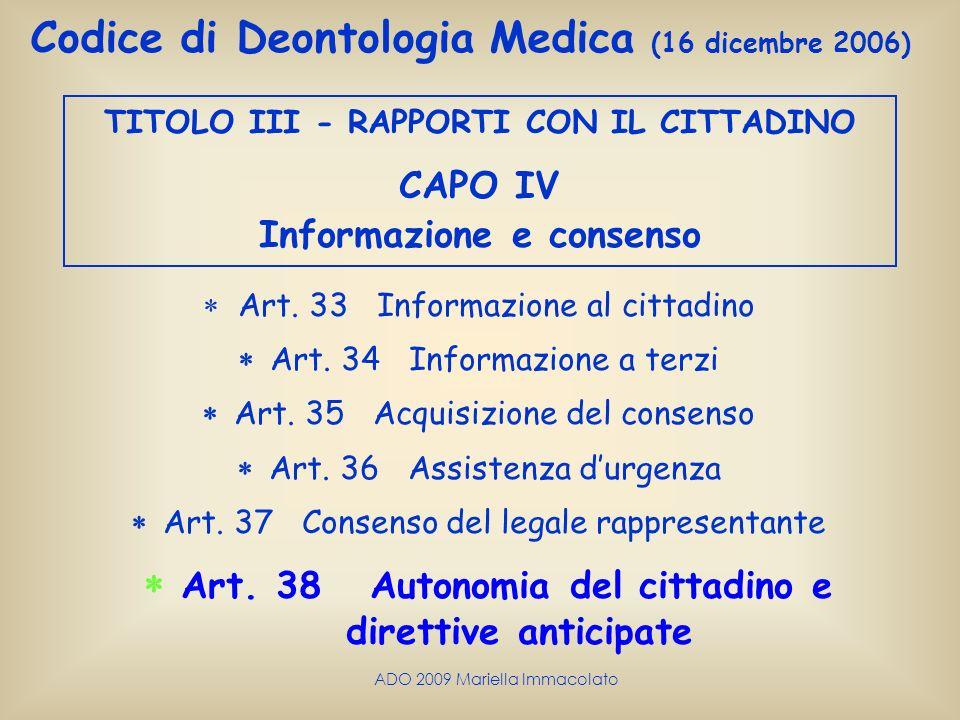 TITOLO III - RAPPORTI CON IL CITTADINO Informazione e consenso