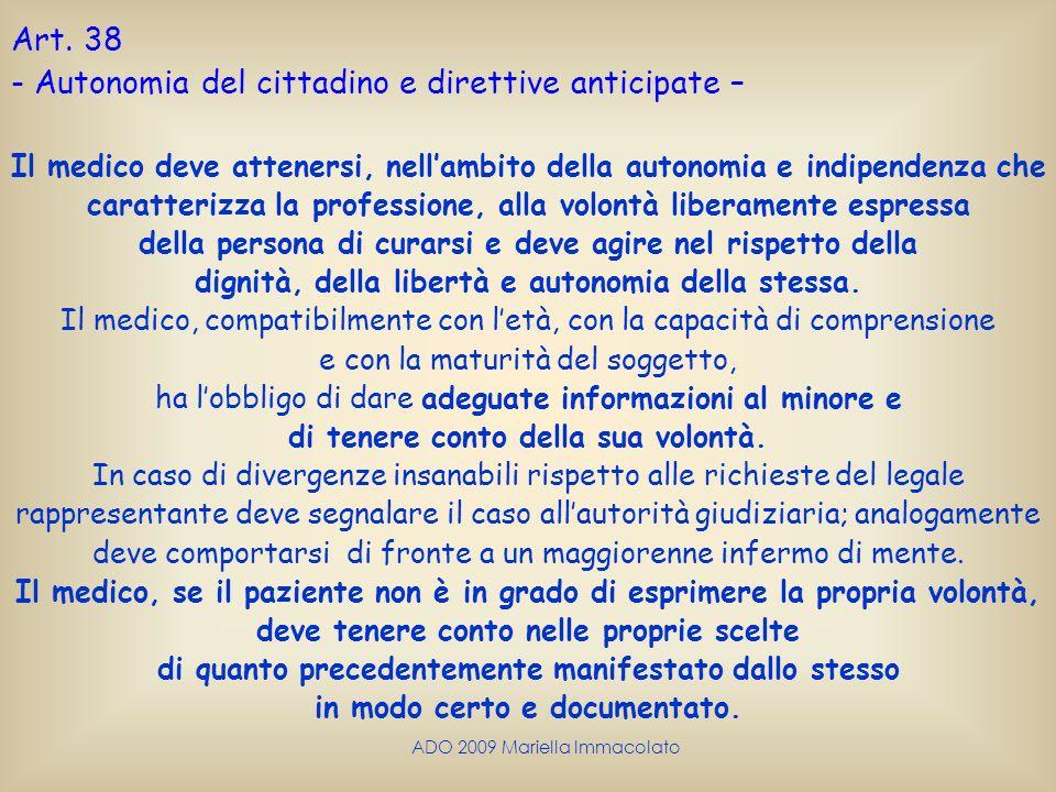 Autonomia del cittadino e direttive anticipate –