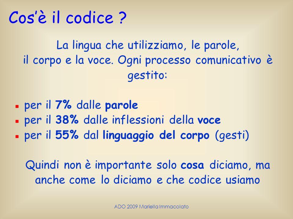 Cos'è il codice La lingua che utilizziamo, le parole,