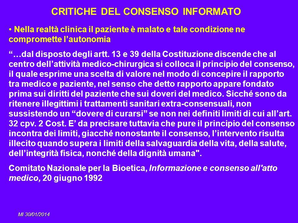 CRITICHE DEL CONSENSO INFORMATO