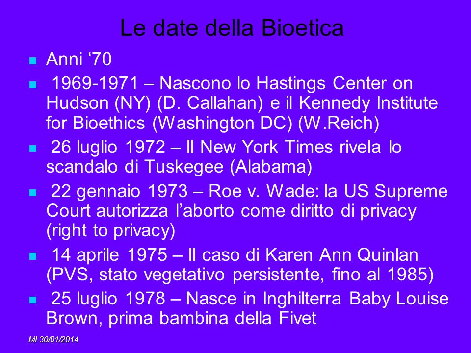 Le date della Bioetica Anni '70