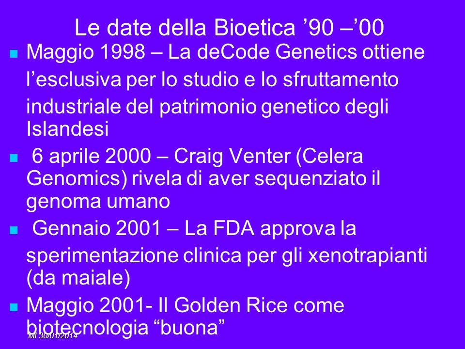 Le date della Bioetica '90 –'00