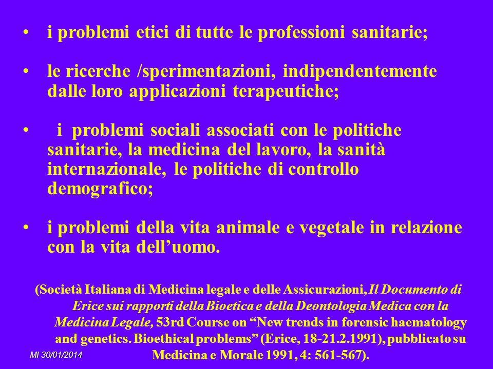i problemi etici di tutte le professioni sanitarie;