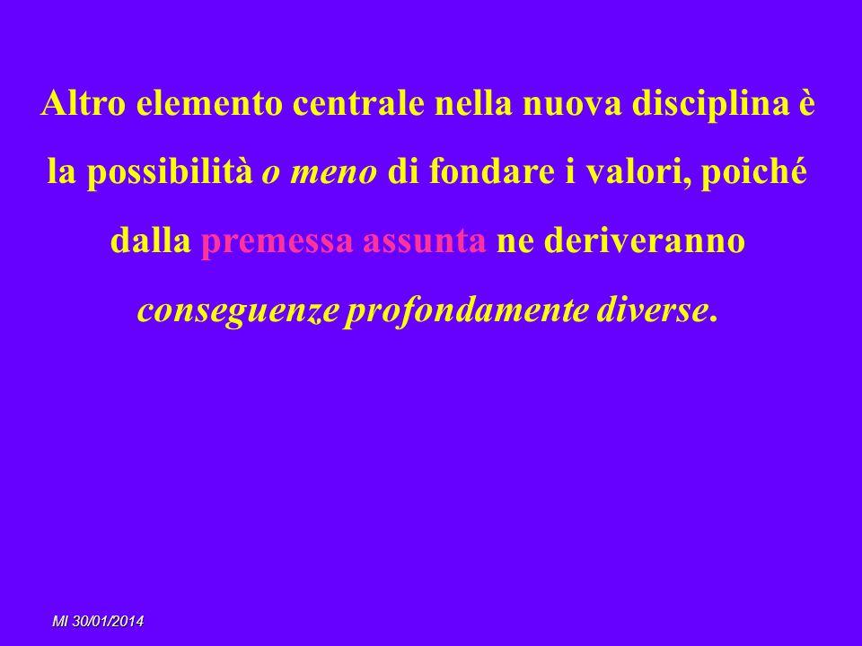 Altro elemento centrale nella nuova disciplina è la possibilità o meno di fondare i valori, poiché dalla premessa assunta ne deriveranno conseguenze profondamente diverse.