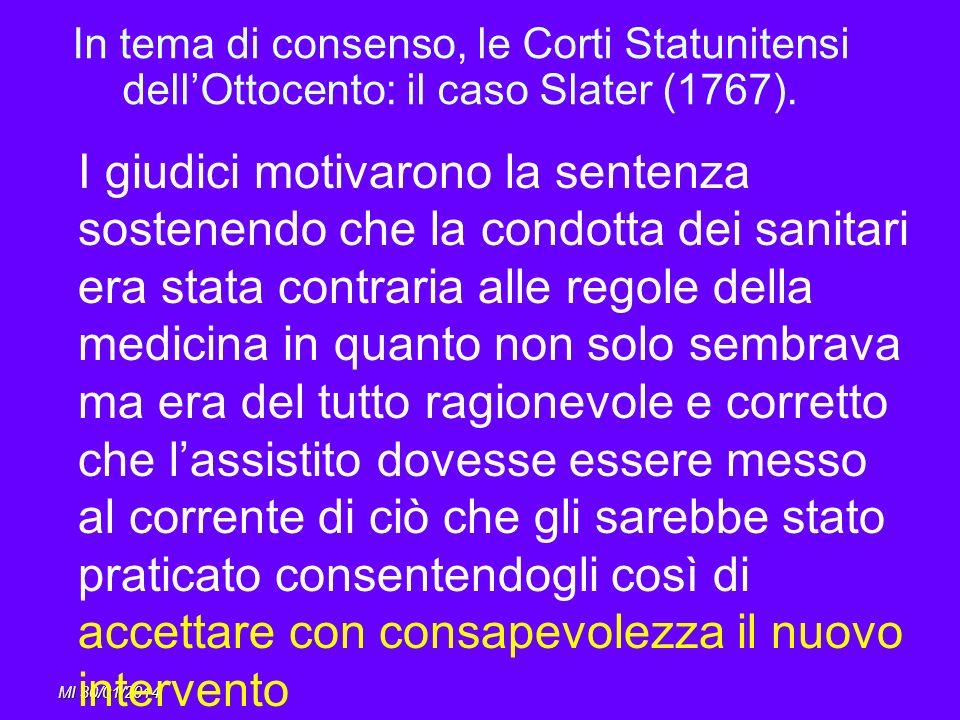 In tema di consenso, le Corti Statunitensi dell'Ottocento: il caso Slater (1767).
