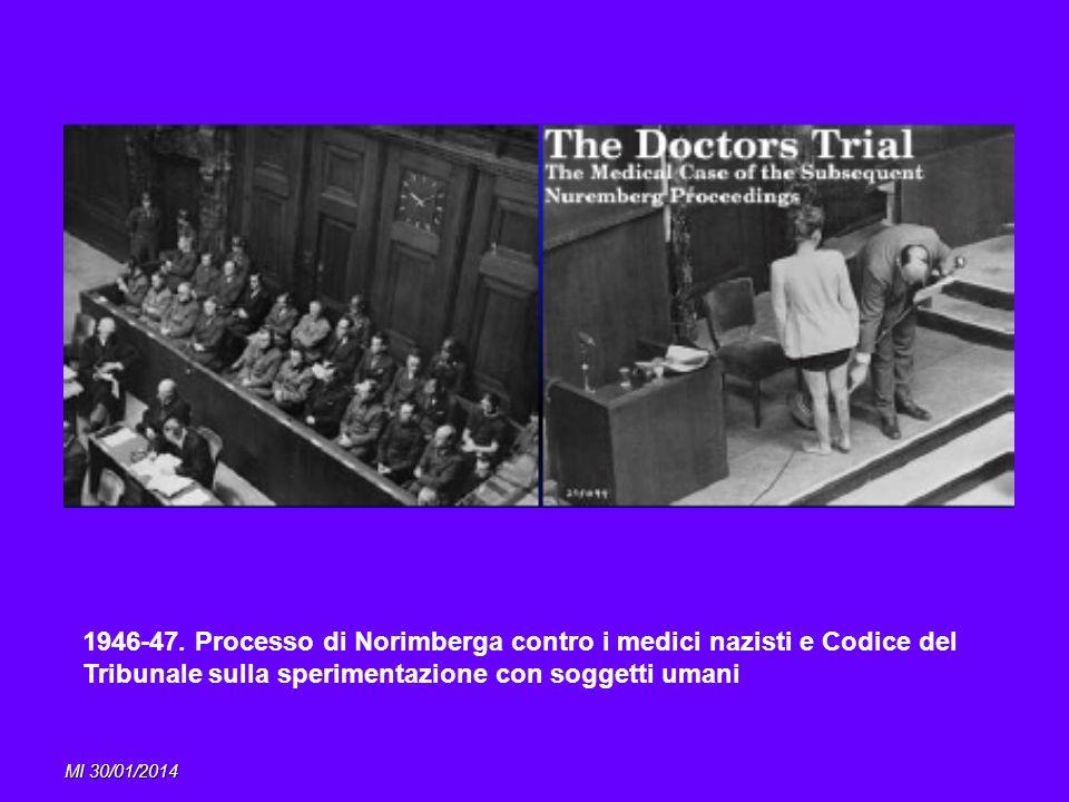 1946-47. Processo di Norimberga contro i medici nazisti e Codice del Tribunale sulla sperimentazione con soggetti umani