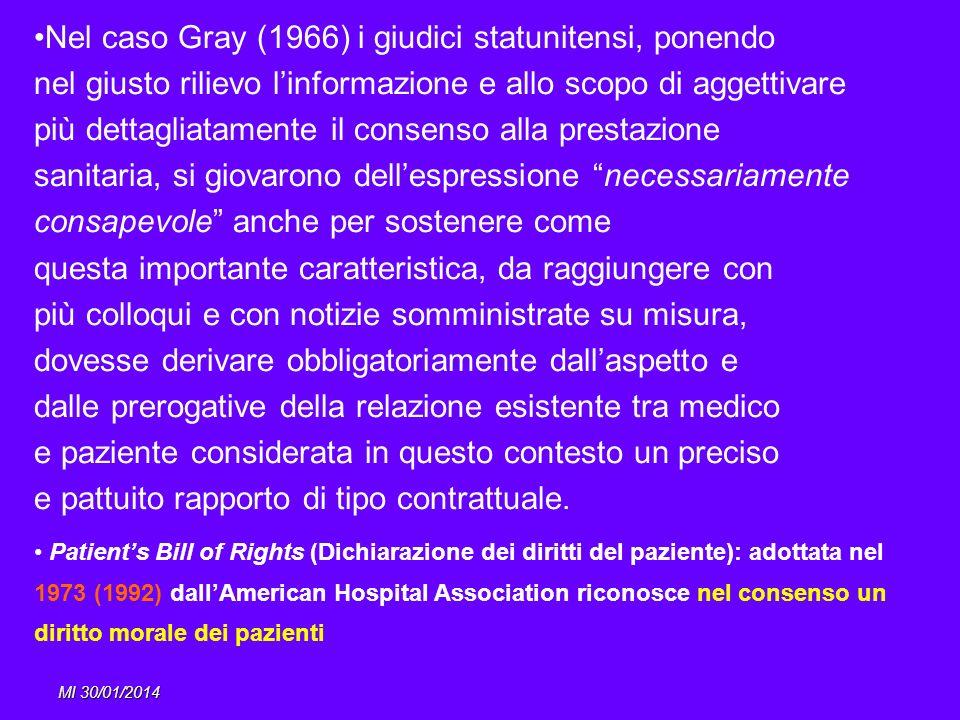 Nel caso Gray (1966) i giudici statunitensi, ponendo
