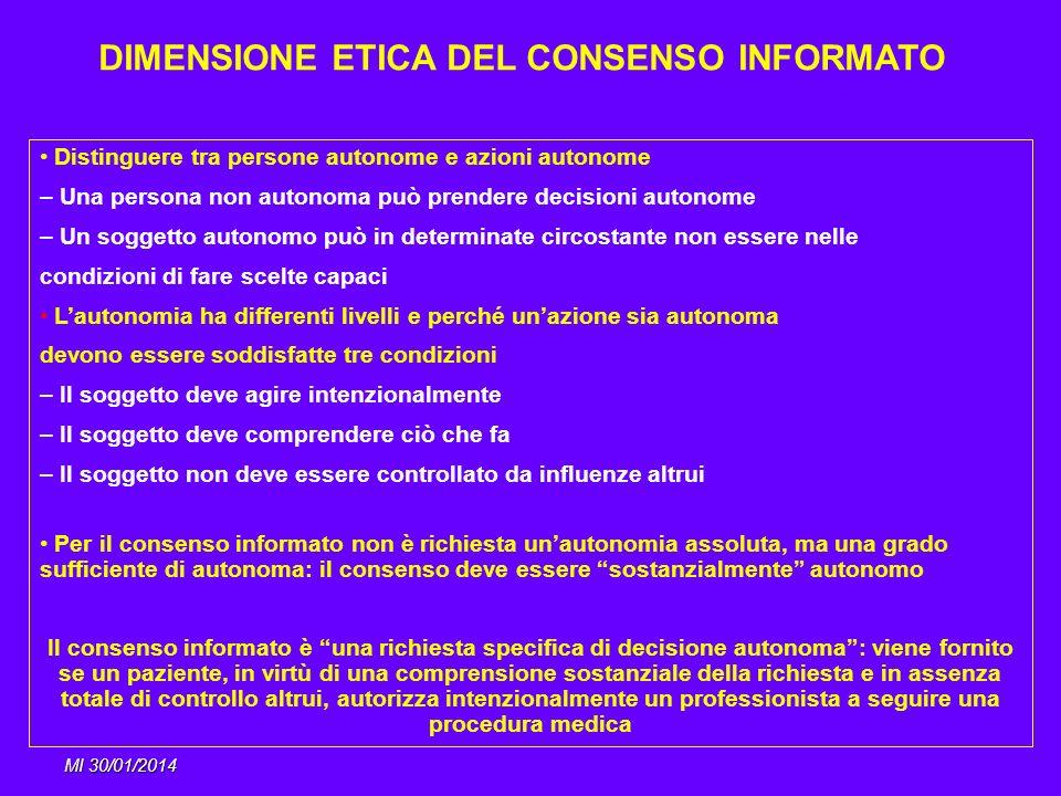 DIMENSIONE ETICA DEL CONSENSO INFORMATO