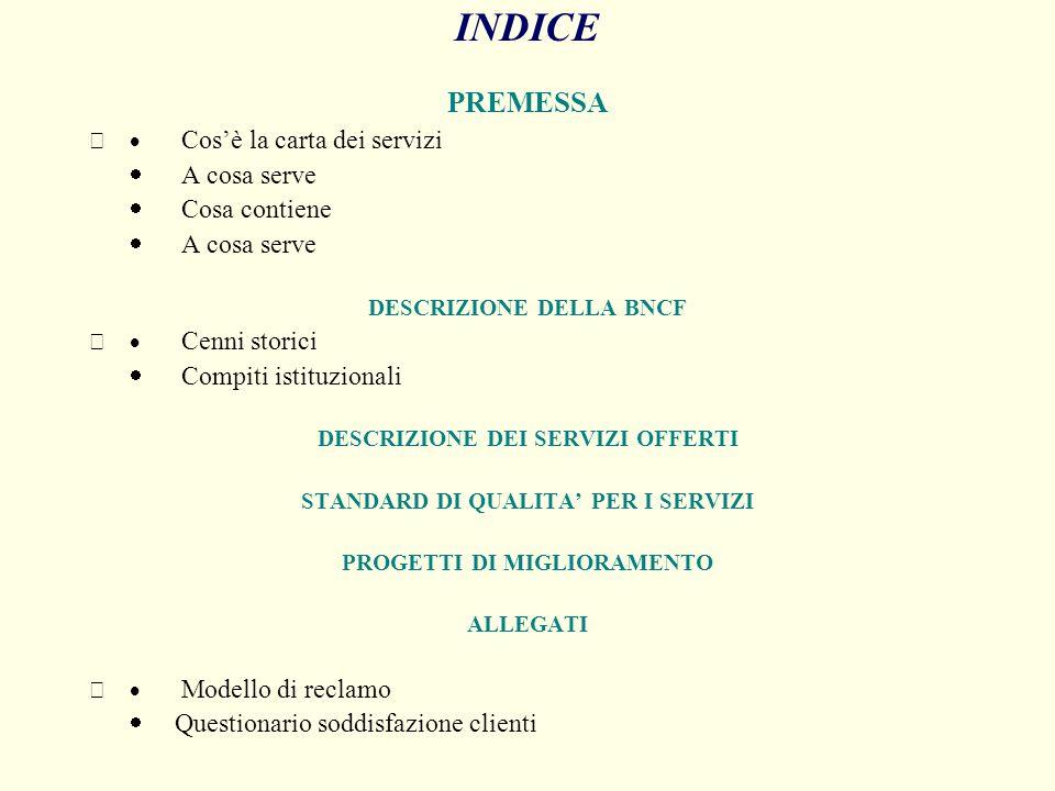 INDICE PREMESSA · A cosa serve · Cosa contiene · Compiti istituzionali