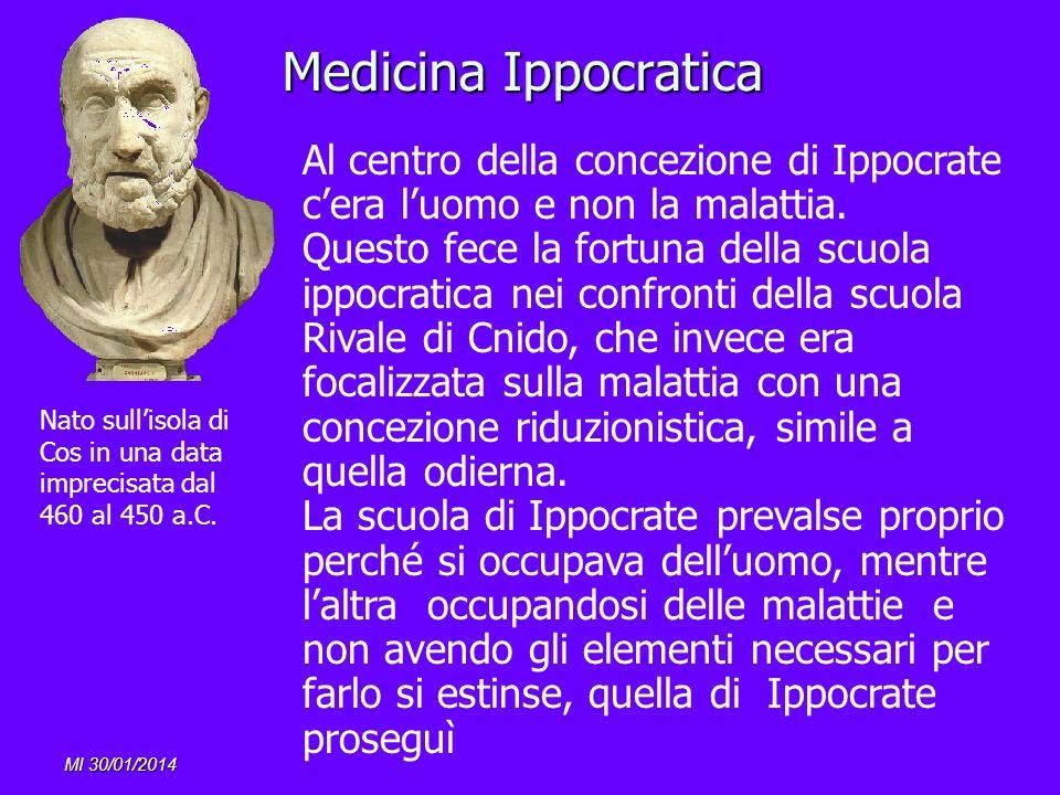 Medicina Ippocratica Al centro della concezione di Ippocrate c'era l'uomo e non la malattia.