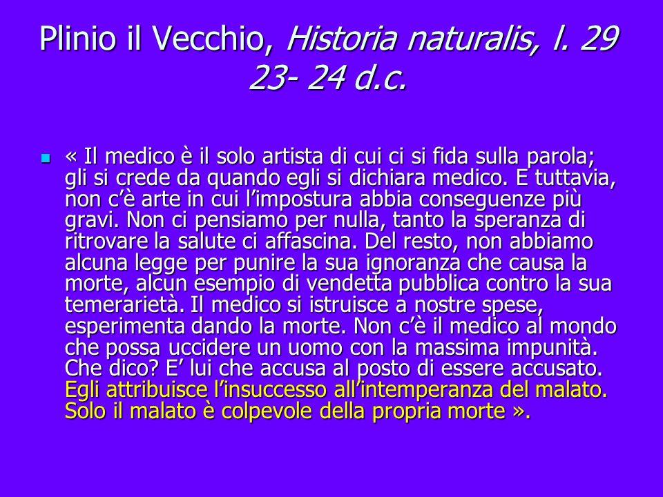 Plinio il Vecchio, Historia naturalis, l. 29 23- 24 d.c.