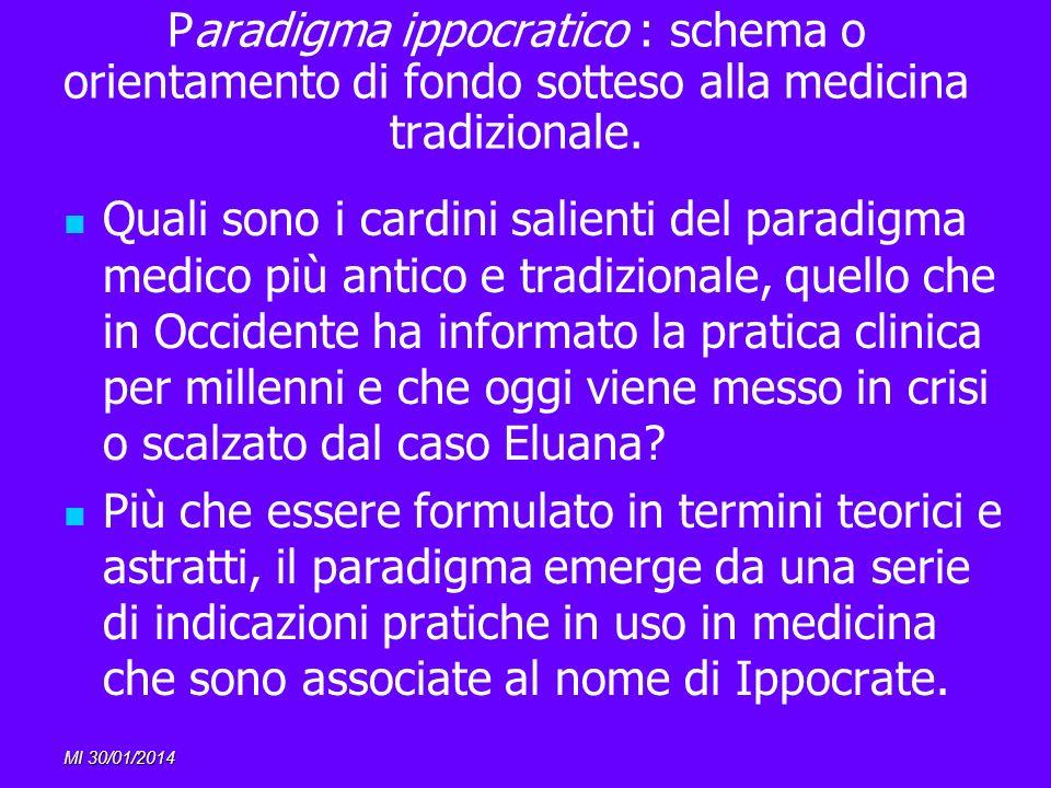 Paradigma ippocratico : schema o orientamento di fondo sotteso alla medicina tradizionale.