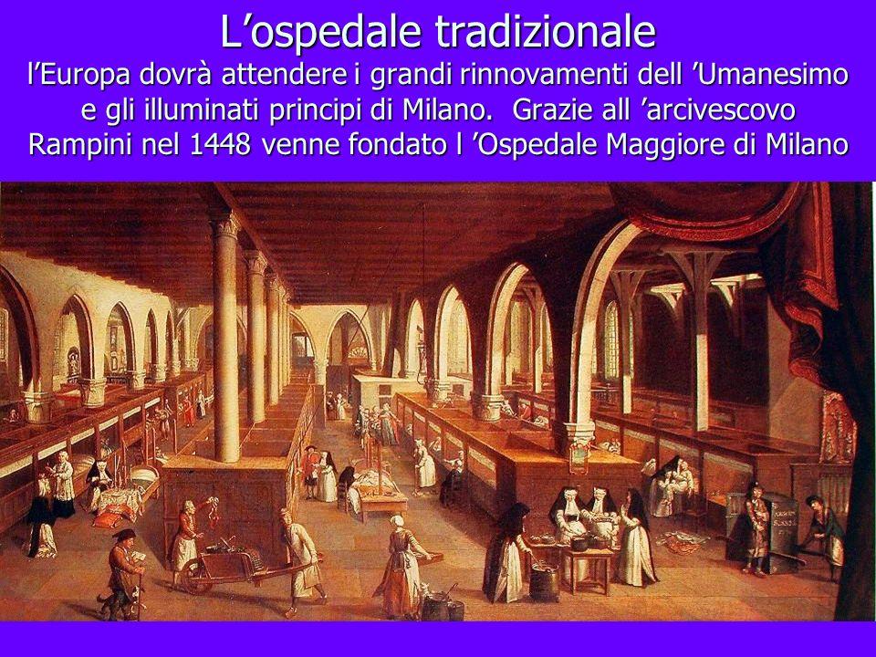 L'ospedale tradizionale l'Europa dovrà attendere i grandi rinnovamenti dell 'Umanesimo e gli illuminati principi di Milano.