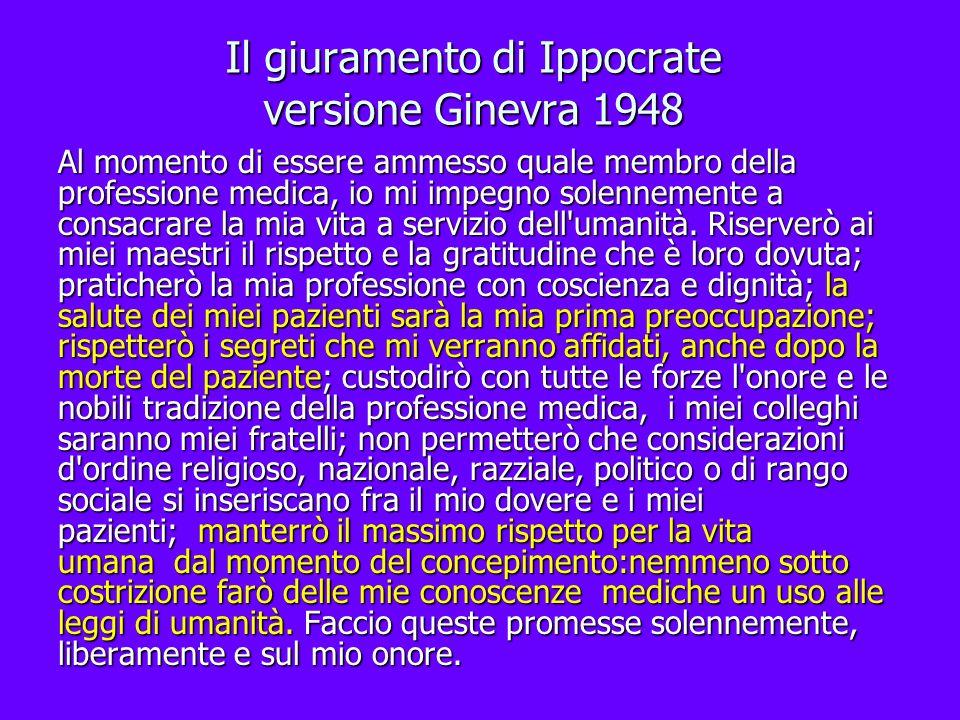 Il giuramento di Ippocrate versione Ginevra 1948
