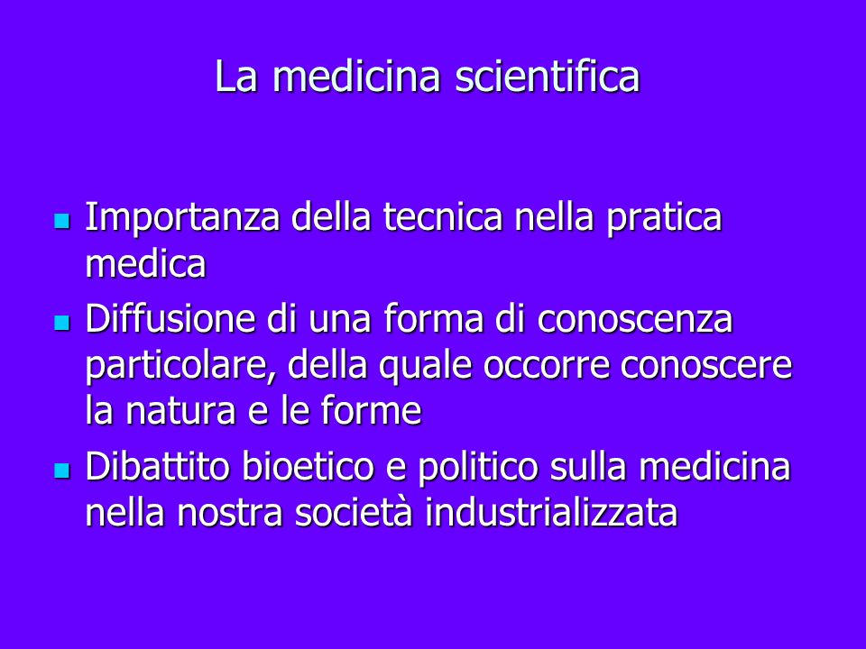 La medicina scientifica