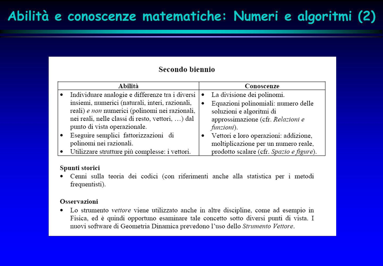Abilità e conoscenze matematiche: Numeri e algoritmi (2)