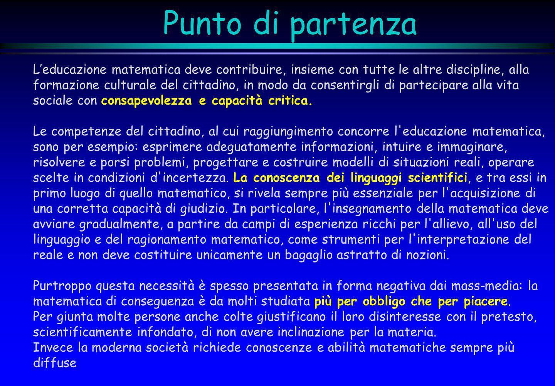 Punto di partenzaL'educazione matematica deve contribuire, insieme con tutte le altre discipline, alla.