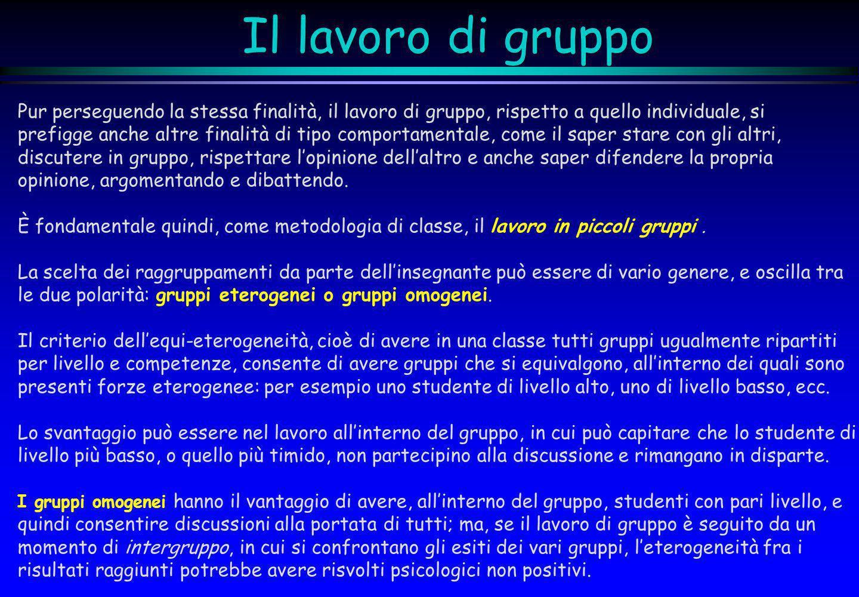 Il lavoro di gruppo Pur perseguendo la stessa finalità, il lavoro di gruppo, rispetto a quello individuale, si.