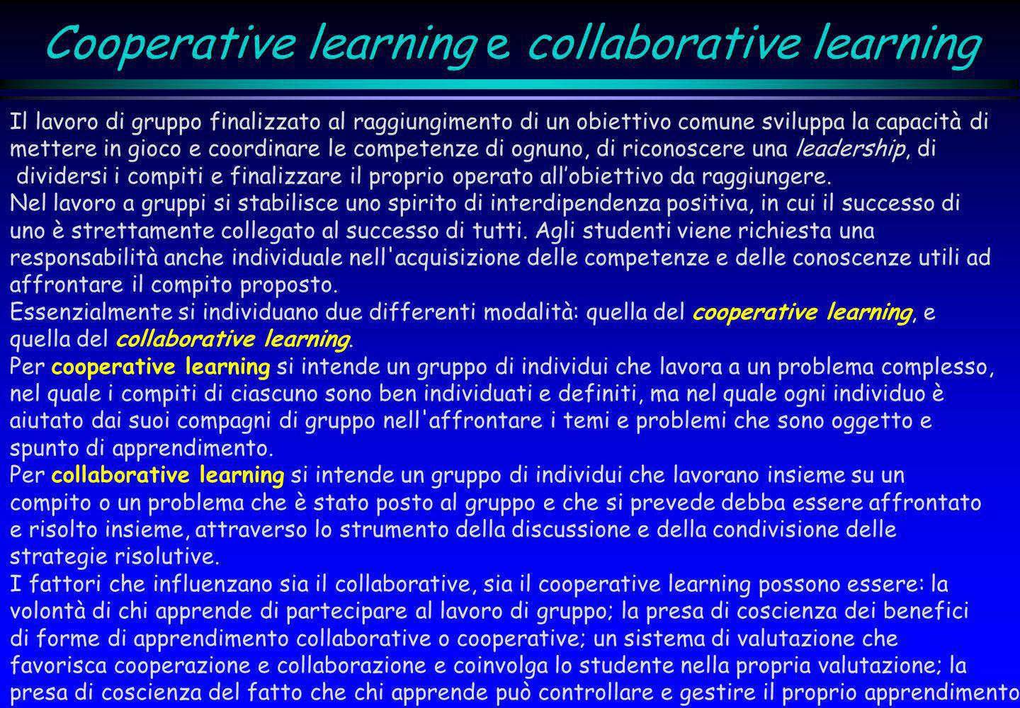 Cooperative learning e collaborative learning