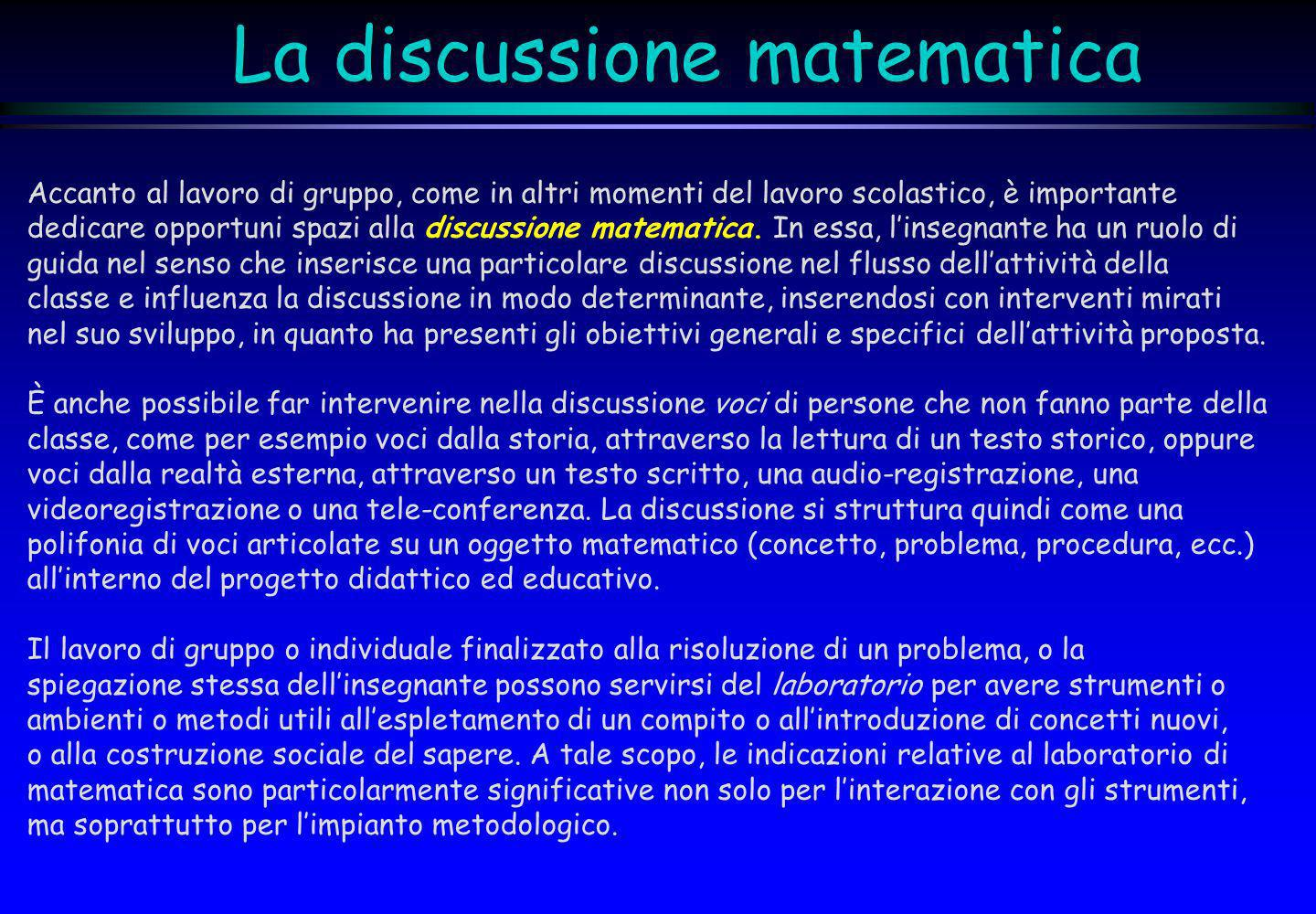 La discussione matematica