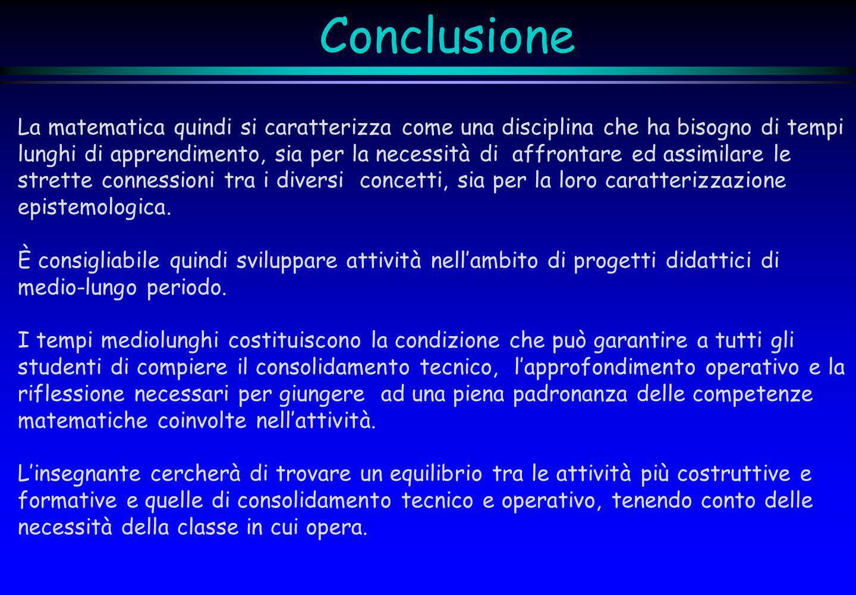 ConclusioneLa matematica quindi si caratterizza come una disciplina che ha bisogno di tempi.