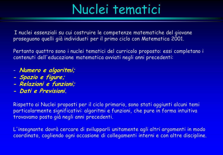 Nuclei tematici - Numero e algoritmi; - Spazio e figure;