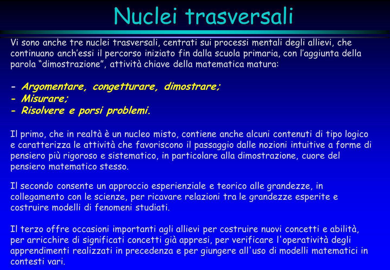 Nuclei trasversali - Argomentare, congetturare, dimostrare;