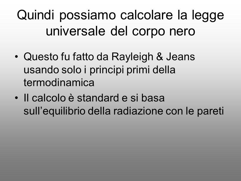 Quindi possiamo calcolare la legge universale del corpo nero