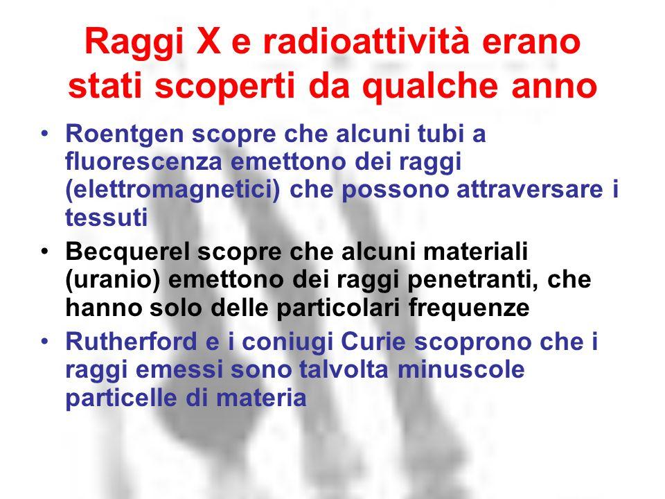 Raggi X e radioattività erano stati scoperti da qualche anno