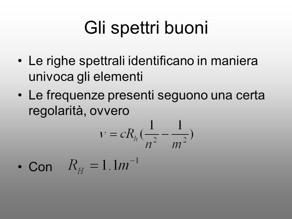 Gli spettri buoni Le righe spettrali identificano in maniera univoca gli elementi. Le frequenze presenti seguono una certa regolarità, ovvero.