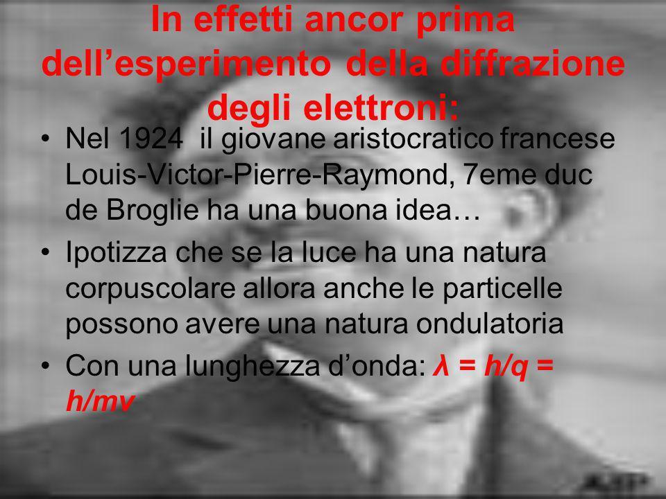In effetti ancor prima dell'esperimento della diffrazione degli elettroni: