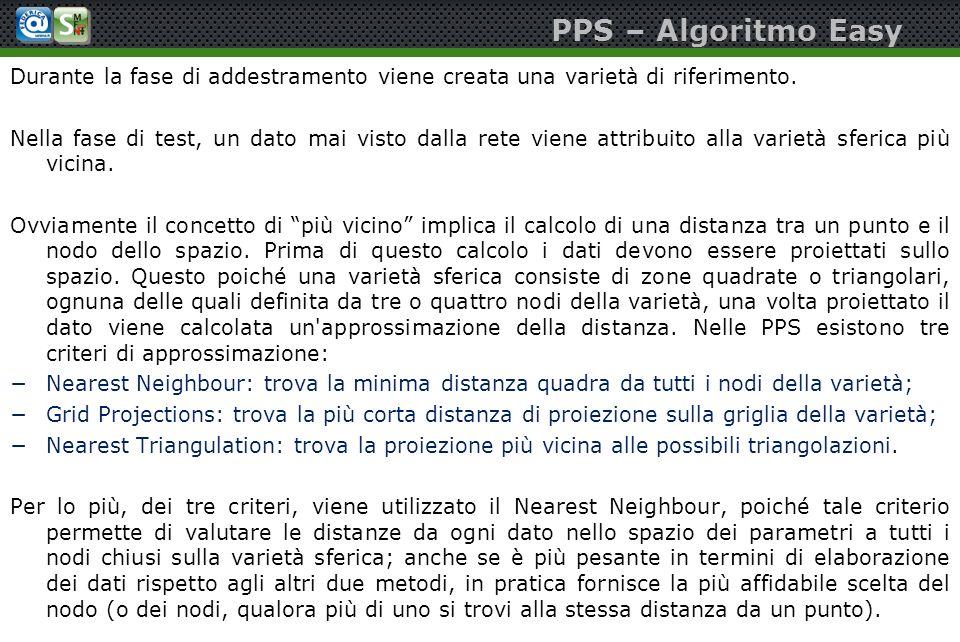 PPS – Algoritmo Easy Durante la fase di addestramento viene creata una varietà di riferimento.