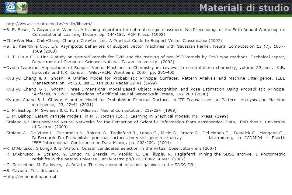 Materiali di studio http://www.csie.ntu.edu.tw/~cjlin/libsvm/