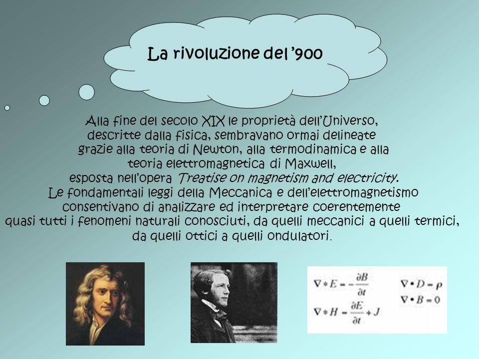 La rivoluzione del '900 Alla fine del secolo XIX le proprietà dell'Universo, descritte dalla fisica, sembravano ormai delineate.