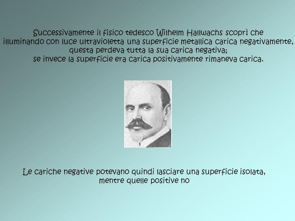 Successivamente il fisico tedesco Wilhelm Hallwachs scoprì che