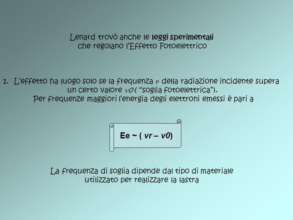 Ee ~ ( vr – v0) Lenard trovò anche le leggi sperimentali