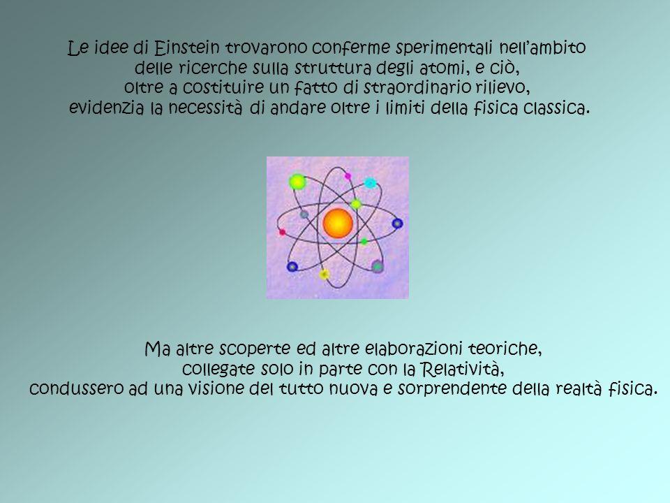 Le idee di Einstein trovarono conferme sperimentali nell'ambito