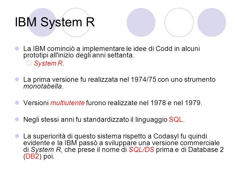 IBM System R La IBM cominciò a implementare le idee di Codd in alcuni prototipi all inizio degli anni settanta.