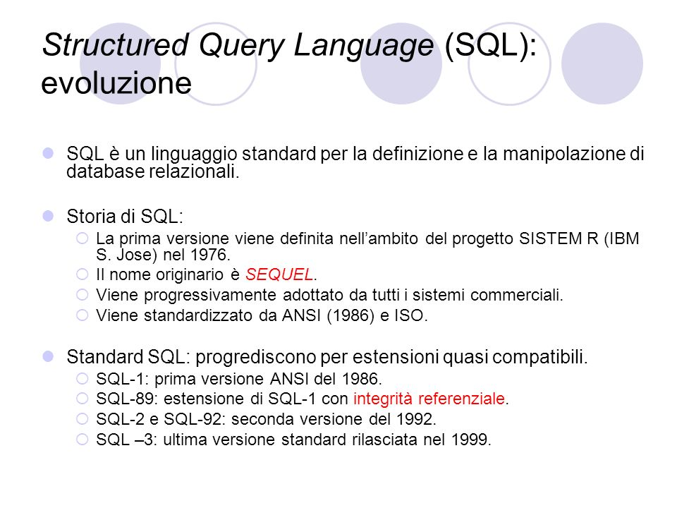 Structured Query Language (SQL): evoluzione