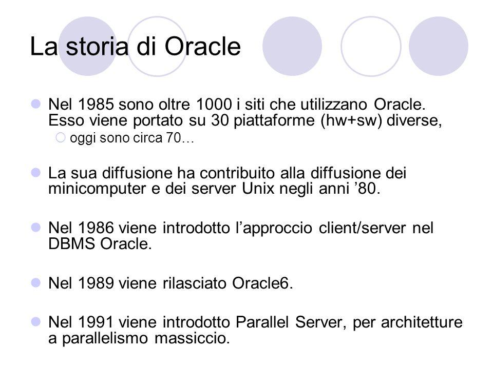 La storia di Oracle Nel 1985 sono oltre 1000 i siti che utilizzano Oracle. Esso viene portato su 30 piattaforme (hw+sw) diverse,