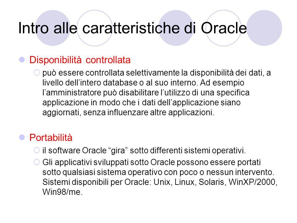 Intro alle caratteristiche di Oracle