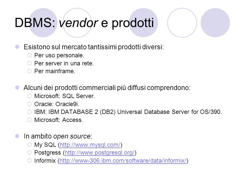 DBMS: vendor e prodotti