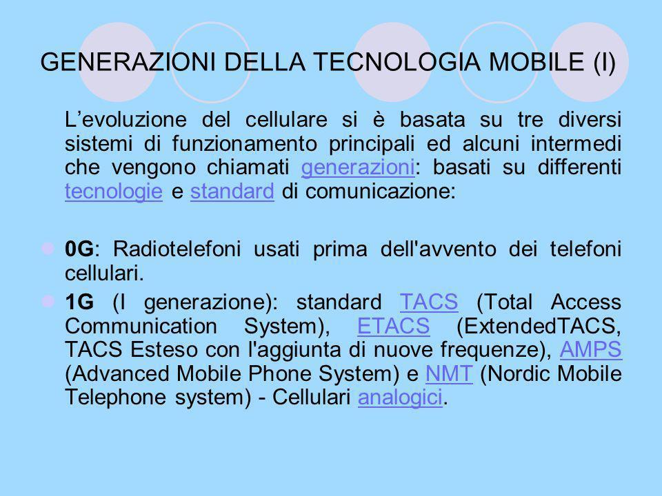 GENERAZIONI DELLA TECNOLOGIA MOBILE (I)