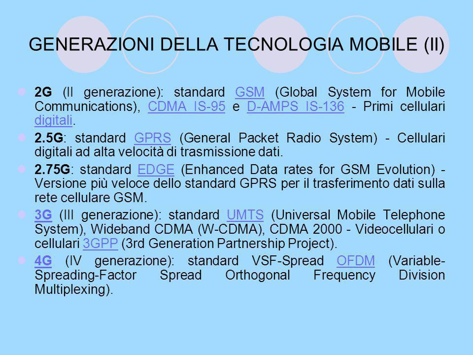 GENERAZIONI DELLA TECNOLOGIA MOBILE (II)